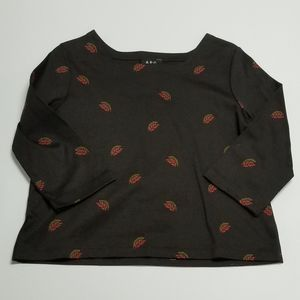 A.P.C. Brown 3/4 sleeve shirt Small